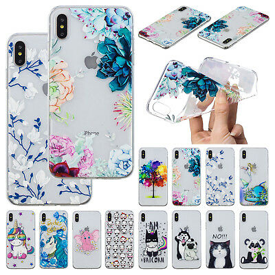 Cute Pattern Clear TPU Silicone Soft Case Cover For iPhone XS Max/X/XR 7 8 Plus - Pattern Tpu Case