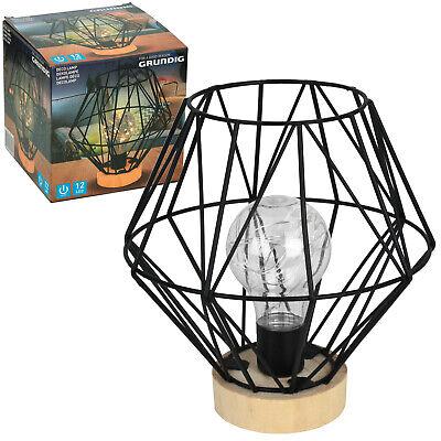 Grundig LED Tischlampe Dekolampe Tischleuchte Retro Nachttischlampe kabellos