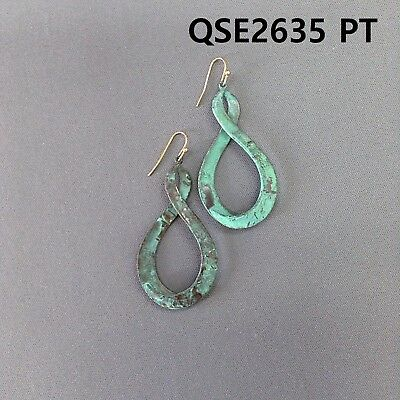 Color Patina Metal Earring (Simple Metal Gold Finished Patina Color Infinity Shape Drop Dangle Hook Earrings )