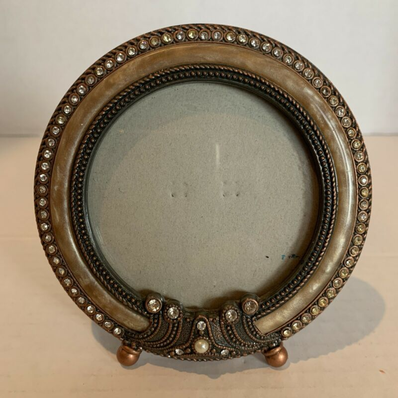 """Heavy 4.5"""" round  Photo Picture Frame pearled enamel with rhinestones"""