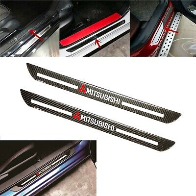 2x Mitsubishi Carbon Fiber Car Door Welcome Plate Sill Scuff Cover Decal -
