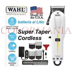 WAHL-SUPER-TAPER-CORDLESS-TAGLIACAPELLI-TOSATRICE-PROFESSIONALE-BARBER-SHOP