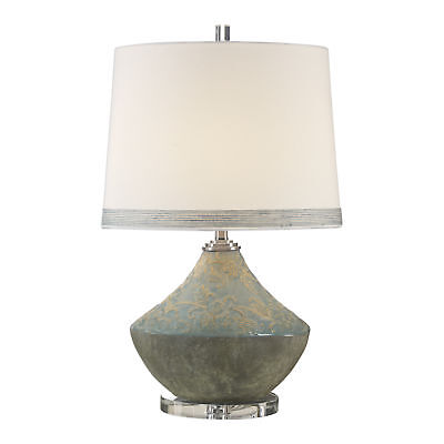 Blue Gray Toile Scroll Embossed Floral Table Lamp | Cottage Scroll Vintage Style