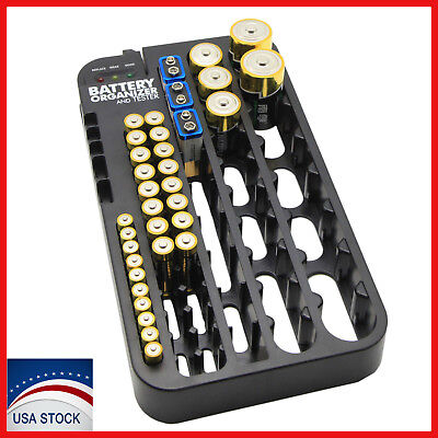 AAA AA Battery Storage Case Organizer with Removable Tester 72 Holder Holds Box Removable Battery Case