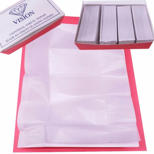 VISION Premium Diamond Parcel Papers Lined White + White 100pc Gems Color stones