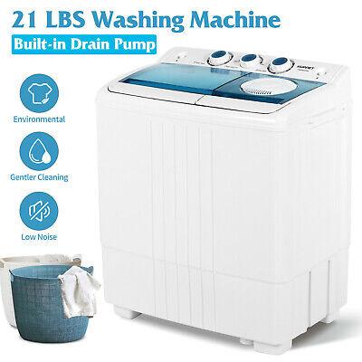 Compact Washing Machine Twin Tub Portable with Drain Pump Wa