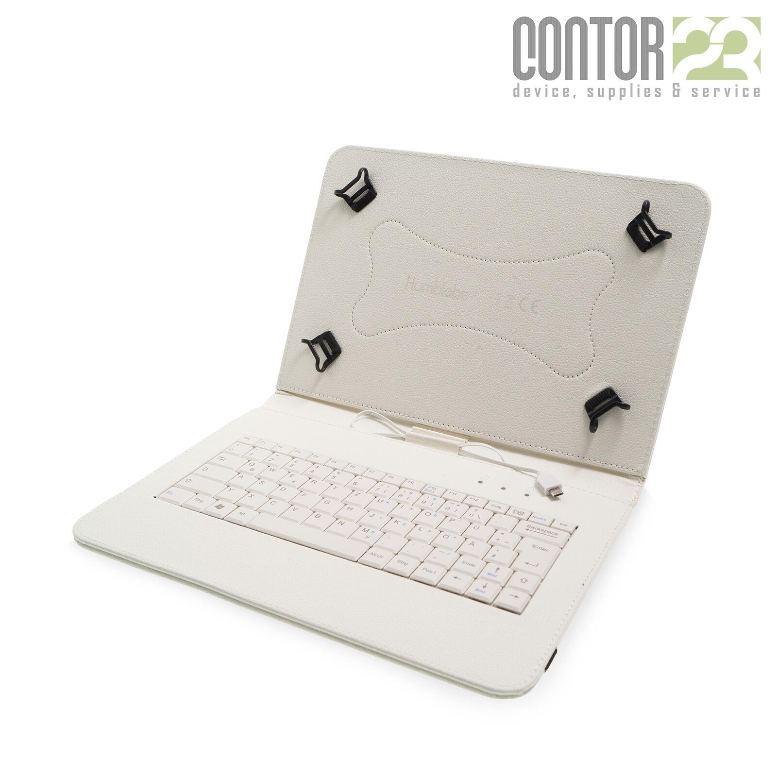 Tablet Schutzhülle + USB-Tastatur WEISS [9-10 Zoll Tasche/Hülle/Case QWERTZ]