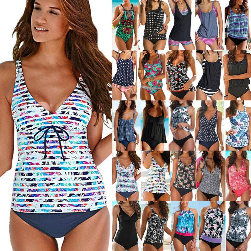 Damen Tankini Set Bikini Hose Gepolstert Schwimmanzug Badeanzug Sommer Bademode