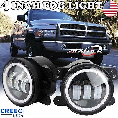 "4"" Round LED Fog Light DRL Angel Eye HaloFor 1994-2010 Dodge RAM 1500 2500 3500"
