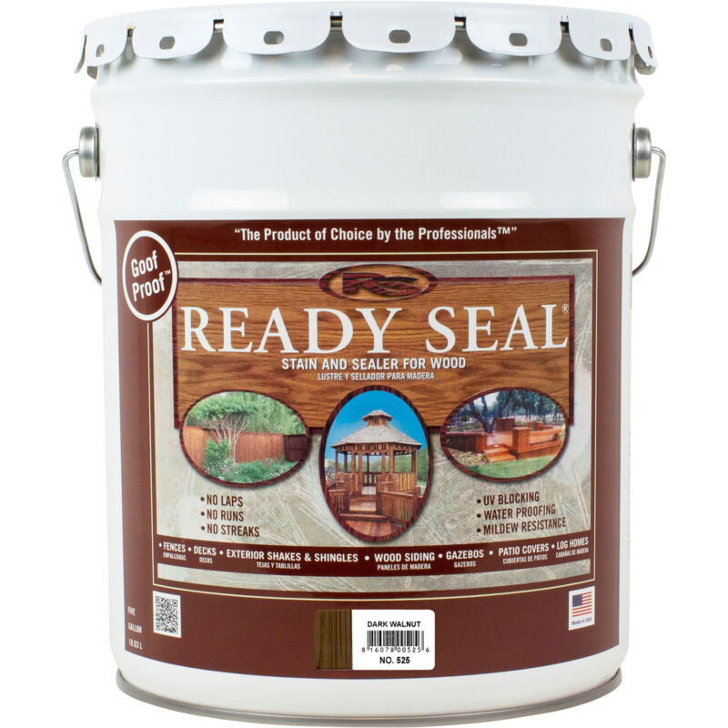 Ready Seal Exterior Wood Stain and Sealer - Dark Walnut, 5 Gallons, Model# 525