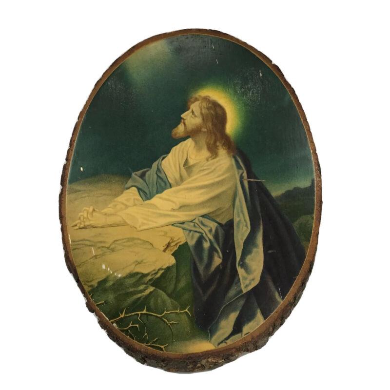 Christ in the Garden of Gethsemane on Natural Wood Slab Vintage USA