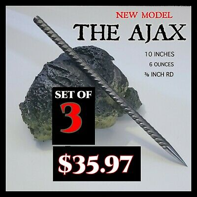 """THE AJAX SET"" STEEL NINJA  SPEAR TIP THROWING TORPEDO SPIKE DEATH STICK SET"