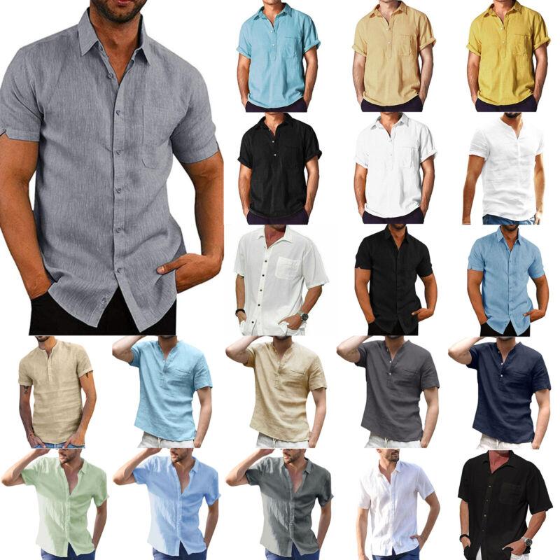 Mens Linen Short Sleeve Shirts Blouse Henley Casual Business