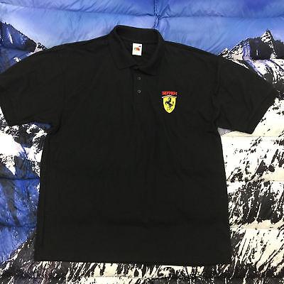 VTG Ferrari Fruit of the Loom Men's Black Short Sleeve Polo Shirt Size XL