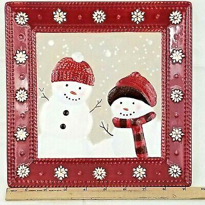 St. Nicholas Square Warm Wishes Square Plate Winter Holiday Season Snowman Theme