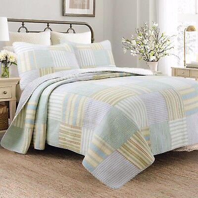 Spa Green Real Patchwork 100%Cotton Quilt Set, Bedspread, Co