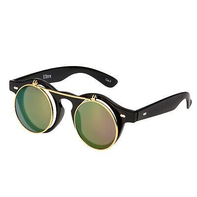 Schwarz + Lila Gespiegelt Aufklappen Kreis Steampunk Brillen Cyber