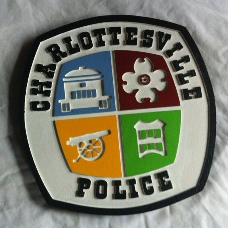 Police Charlottesville 3D routed carved  patch plaque sign Custom Carved
