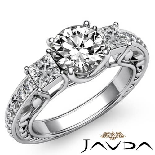 Platinum 1.4ct Round Diamond Trellis 3 Stone Engagement Filigree Ring GIA F VVS2