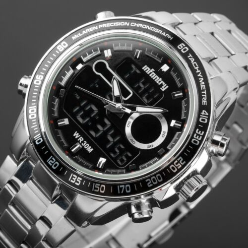 $26.04 - INFANTRY Mens Digital Quartz Wrist Watch Chronograph Army Stainless Steel Luxury