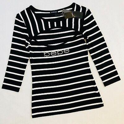 Nwt Bebe Rhinestone Logo Peekaboo Top Black White Stripe Shirt Bling S M L Xl