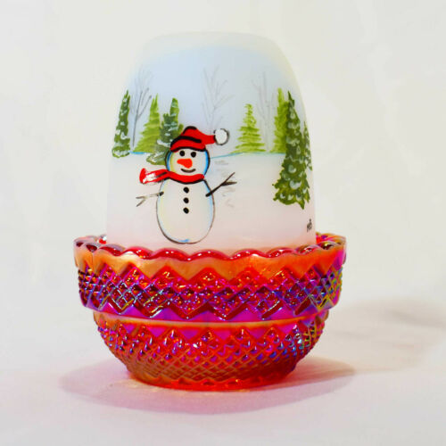Mosser Glass Glimmer Light Fairy Lamp hand painted with snowman and trees red ca