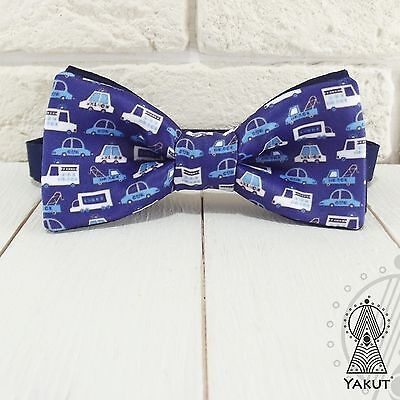 (Bow Tie Funny cars, Blue bowtie, Boy's and men's sizes)