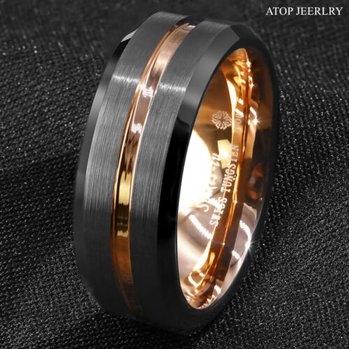 8mm Black Brushed Rose Gold Tungsten Carbide Ring Atop Men Wedding Band Jewelry