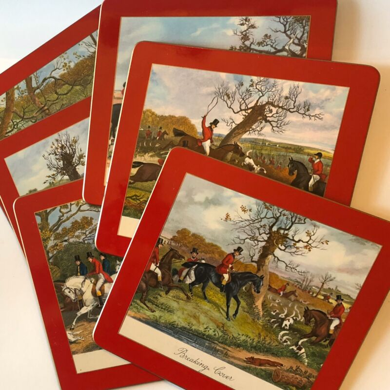 Vintage Placemats Hunting Scenes Sheraton English 6 Square 2 Rectangle