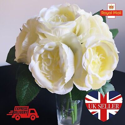 Bunch Ivory Cream Artificial Rose Bouquet Faux Silk Floral Flower Display