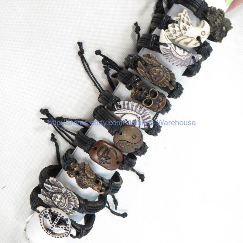 10 pcs faux leather charm bracelet cheap chic jewelry wholesale