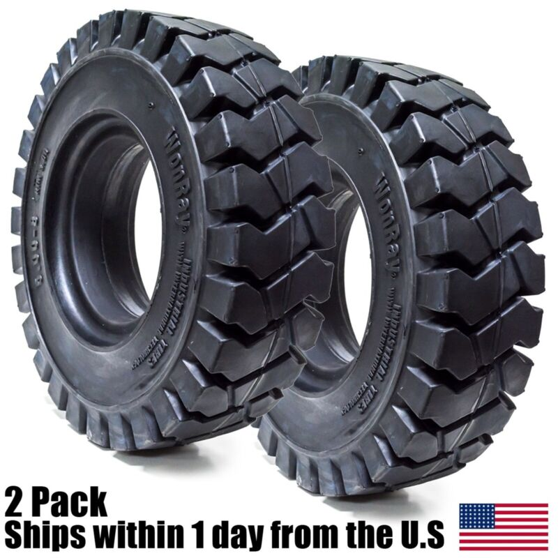 """2pk 5.00-8 500-8 5008 5.00/8 Solid Forklift Tires 3.0"""" RW 5.00/8 Flat Proof 5008"""