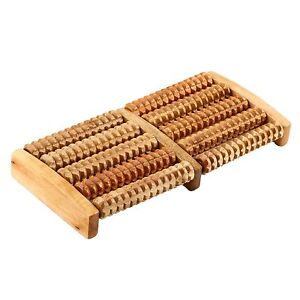 5 Rows Wood Foot Roller Relax Relief Massager Acupressure Therapy Massage Tool