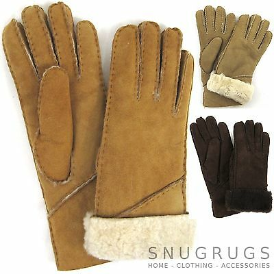 Ladies Genuine Sheepskin Gloves Long Cuff Tan Spice Coffee