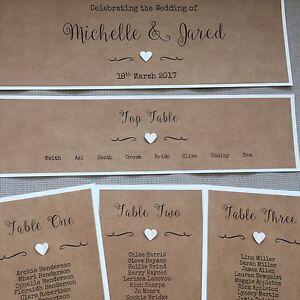 Handmade Personalised Vintage Rustic Heart Table Seating Plan Individual Cards