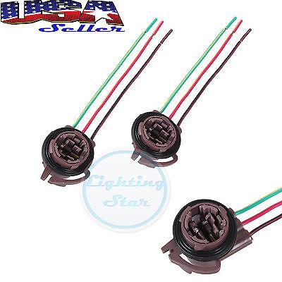 2x3357 3157 4157 Brake Turn Signal Light Bulb Socket Harness Wire Plug Connector
