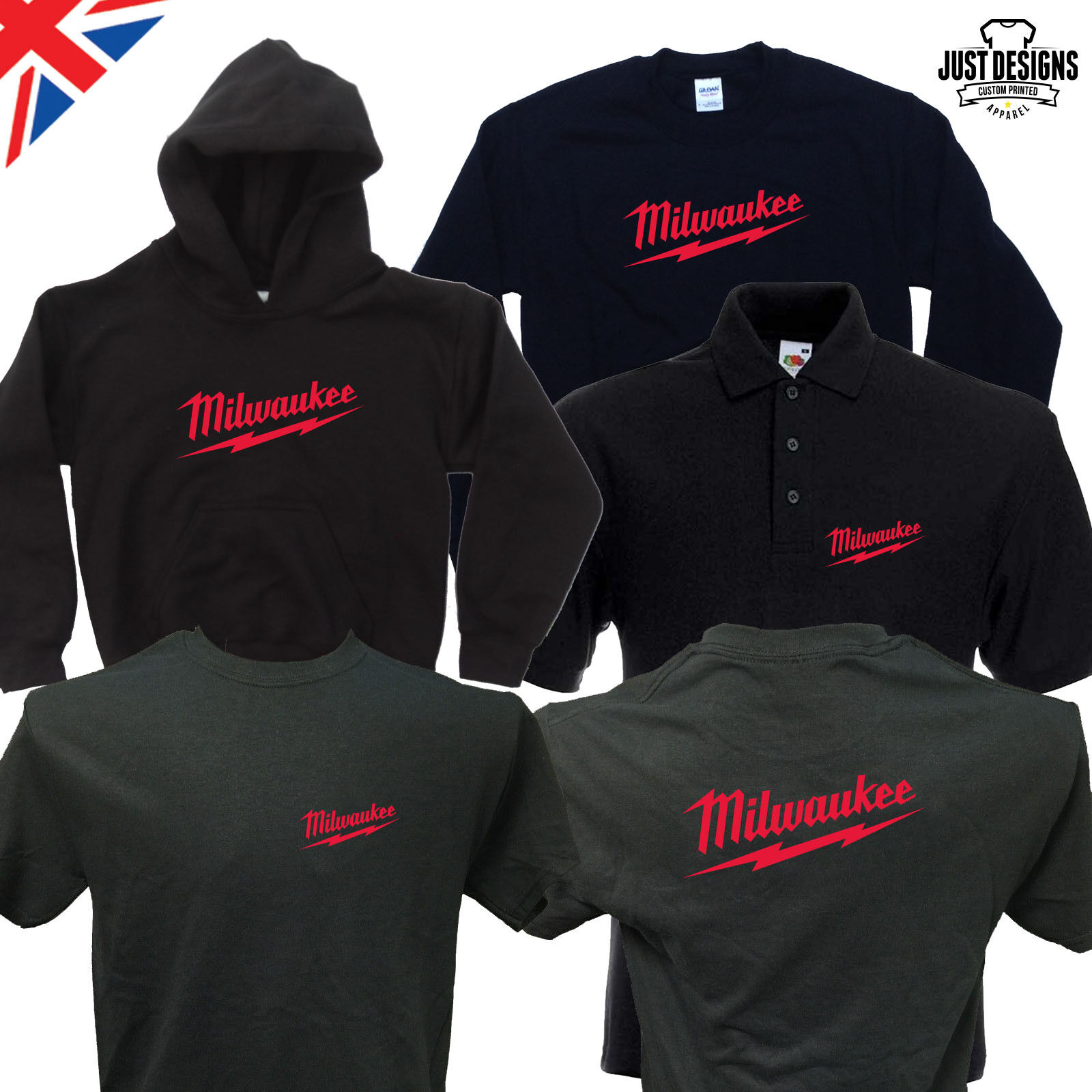 Milwaukee Black T-shirt Zipped Hoodie Polo Shirt Jumper Vest
