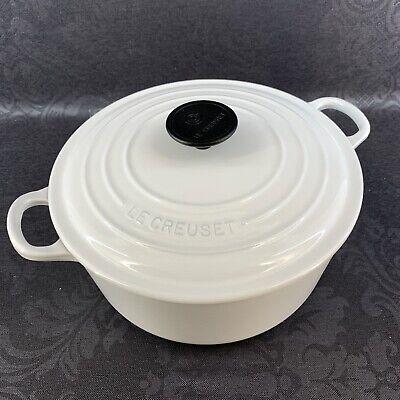 """Le Creuset White 10"""" Stock Pot Dutch Oven Vintage Cast Iron France Cookware"""