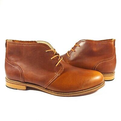 J Shoes Monarch Chukka Brown Waxed Leather Boot Men US 10.5 EUC C5902 1306