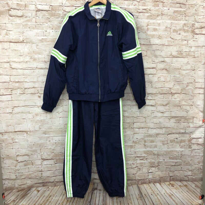Vintage 90s Adidas Track Suit Jogger Wind Breaker Hooded Jacket Pants M Stripes