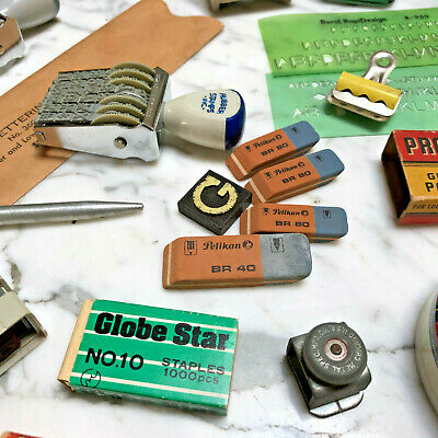Vintage Office Supplies 1950s 1960s 1970s Staples Scale Slide Rule Tins Lot
