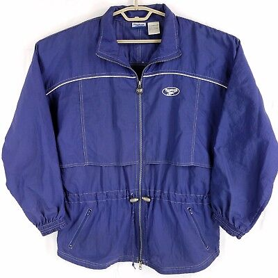 Vtg Reebok Spell Out Blue White Long Parka Nylon Windbreaker Jacket Mens Large Reebok Nylon Parka