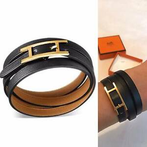 Hermes - Hapi 3 MM - Gold Plated, Calfskin Leather Bracelet Avalon Pittwater Area Preview