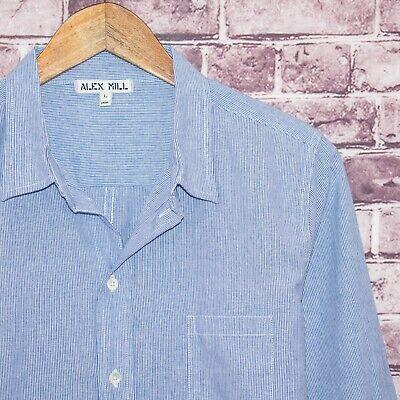 ALEX MILL Women's Button Front Shirt Blue White Striped Size Large