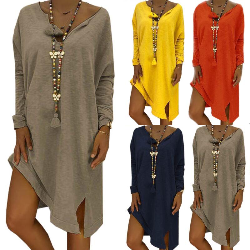 Damen Lose Langarm Kleid Shirtkleid V-Ausschnitt Sommer Freizeitkleid Übergröße