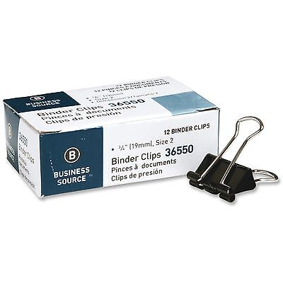 Business Source Binder Clip Small 34w Steel 38 Capacity 1dz Black 36550