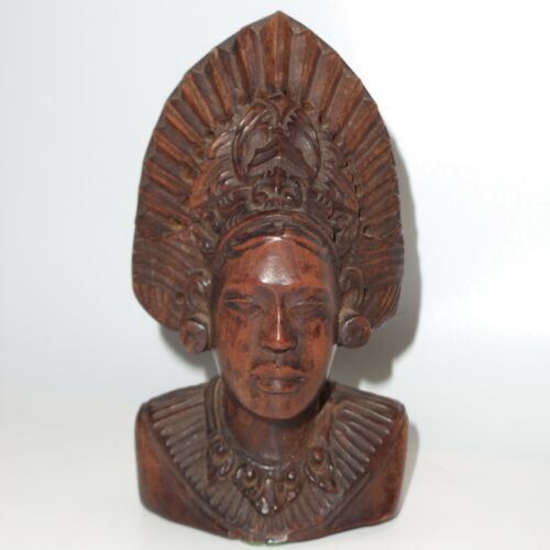 """Vintage Bali Balinese Lady Woman Figure Statue Wood Carving Small Signed 4.6"""""""