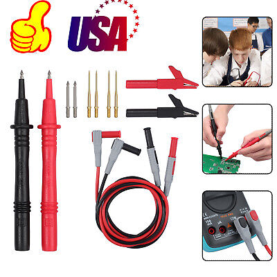 For Fluke Meter Power Multimeter Probe Alligator Clips Test Lead Kit 12 In 1 Set