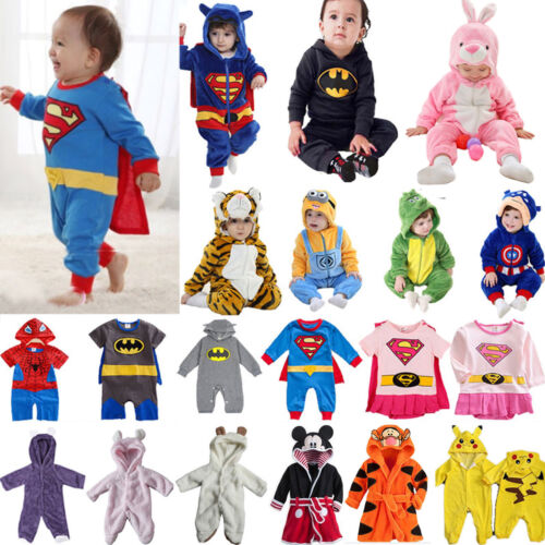 Baby Kinder Kapuzen Strampler Overall Jumpsuit Rompers Tier Superman Body Outfit