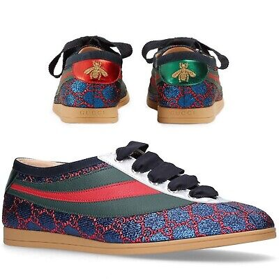 New Gucci Mens Falacer Glittered Trainers Blue Ace Size UK 8.5 Bee US 9.5 GG